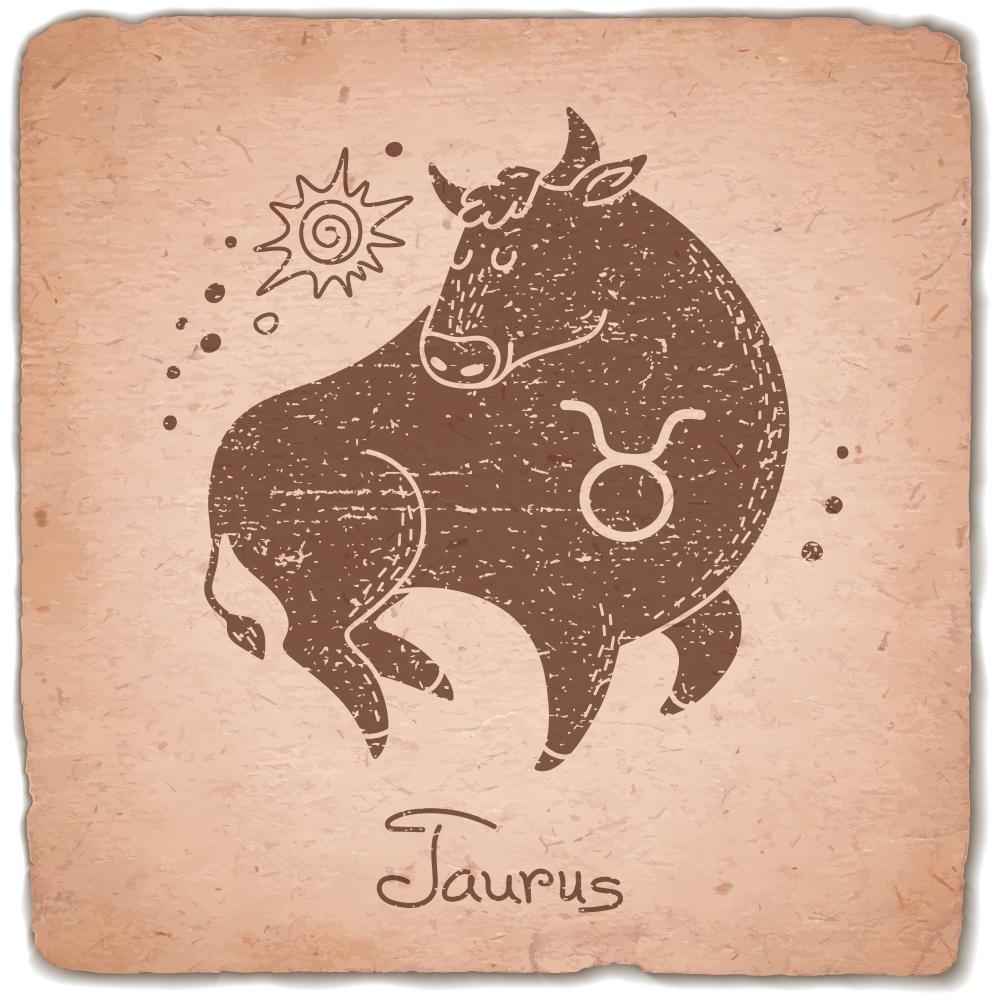 Taurus zodiac sign horoscope vintage card. Vector illustration.