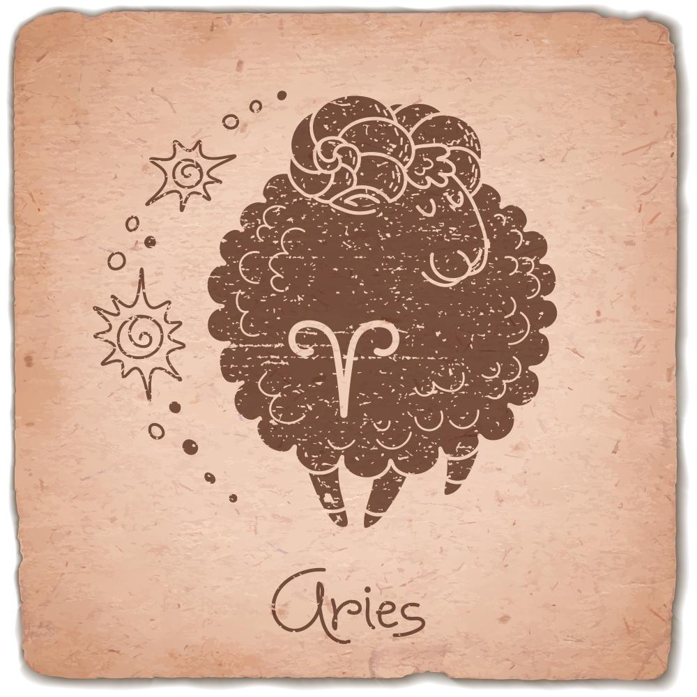 Aries zodiac sign horoscope vintage card. Vector illustration.