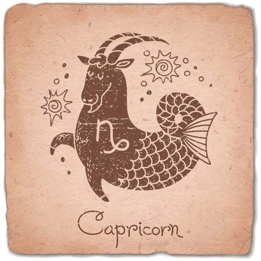 Capricorn zodiac sign horoscope vintage card. Vector illustration.