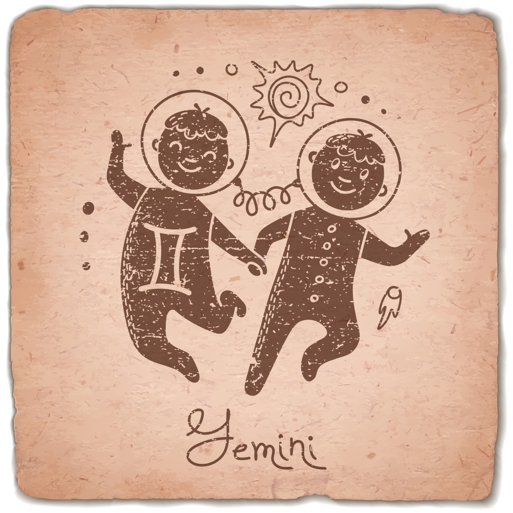 Gemini zodiac sign horoscope vintage card. Vector illustration.