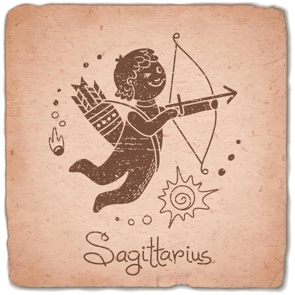 Sagittarius zodiac sign horoscope vintage card. Vector illustration.