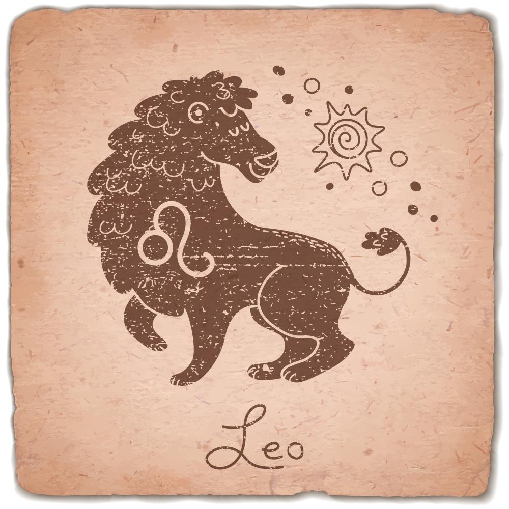 Leo zodiac sign horoscope vintage card. Vector illustration.
