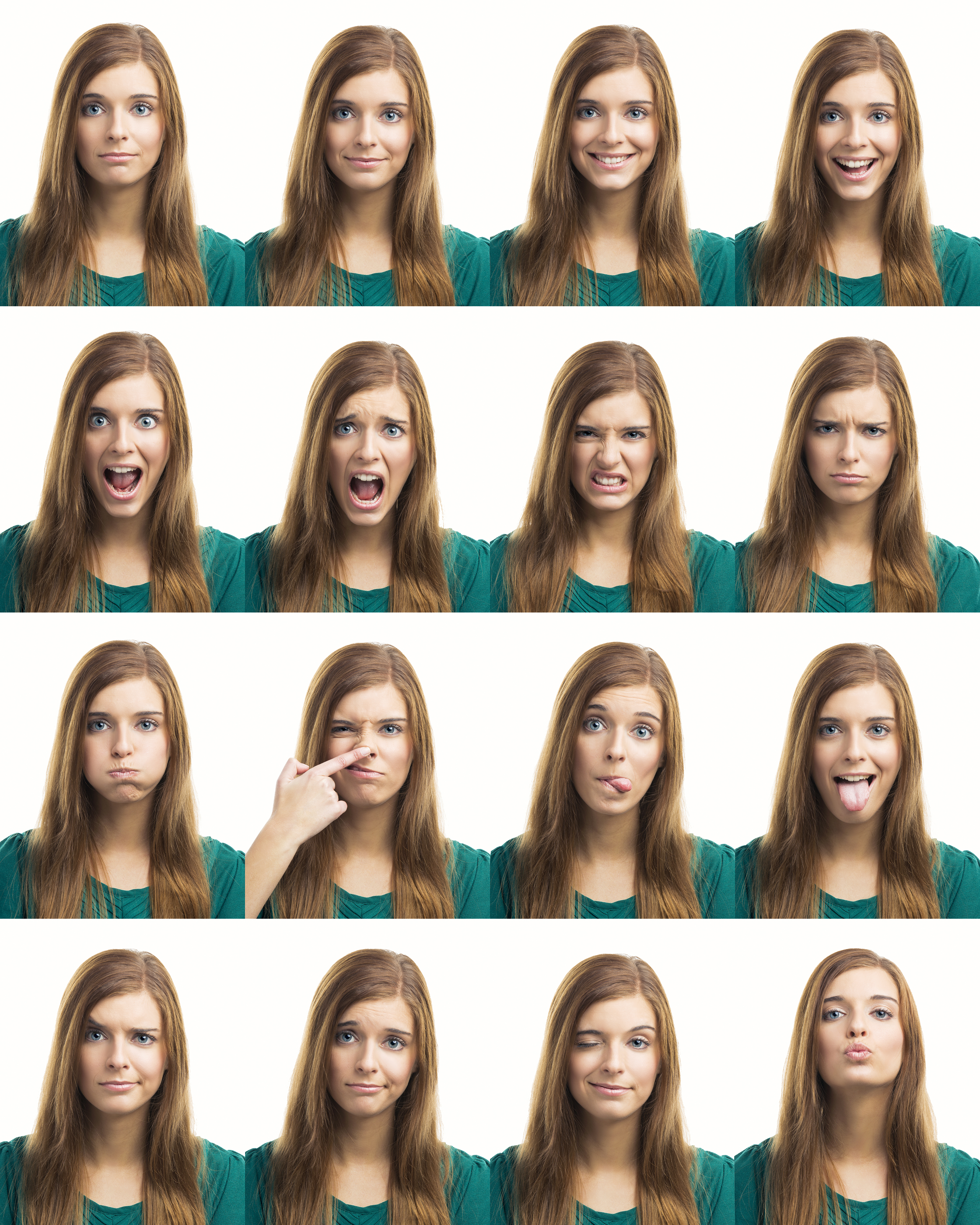 Multiple collage of a beautiful young woman with different expressions